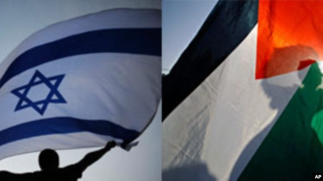 Israeli and Palestinian protesters with their respective flags (file photo montage)