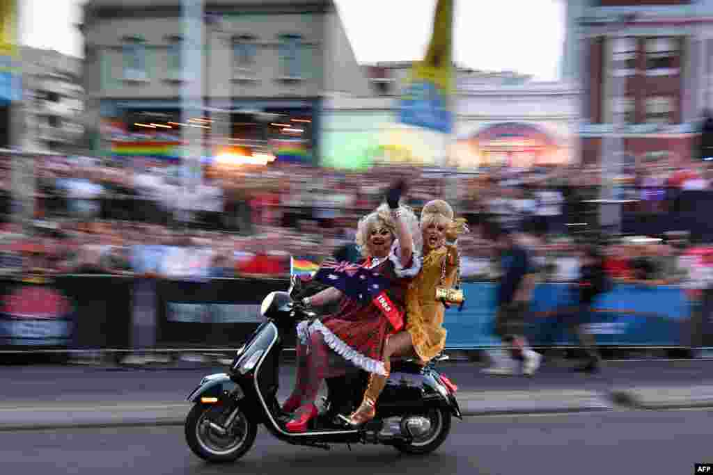 People participate in a motorcycle rally during the annual Gay and Lesbian Mardi Gras parade in Sydney, Australia, March 2, 2019.