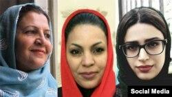 سپیده مرادی (راست)، الهام احمدی و شکوفه یداللهی (چپ)، زنان دراویش محبوس در زندان قرچک ورامین