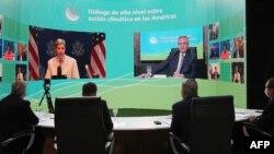 존 케리 미국 기후문제특사(화면 왼쪽)가 8일 중남미 국가 고위급 대표들과 화상회담을 했다.