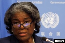 U.S. Ambassador to United Nations, Linda Thomas-Greenfield holds a news conference in New York