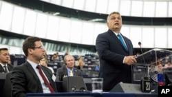 Hungary's Prime Minister Viktor Orban addresses the European Parliament in Strasbourg, France, Sept.11, 2018.