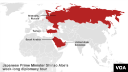 Stops on Japanese Prime Minister Shinzo Abe's week-long economic diplomacy tour of Russia and the Middle East.