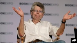 FILE - Author Stephen King speaks at Book Expo America in New York, June 1, 2017.