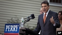 Texas Gov. Rick Perry makes remarks at his first campaign event on Saturday, Aug. 13, 2011, in Greenland, New Hampshire after announcing earlier in the day that he's running for president in 2012