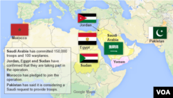 Map identifying coalition members in support of Yemen against Houthis