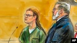 Судебный скетч: Мария Бутина и ее адвокат Роберт Дрисколл на заседании суда в Вашингтоне, 13 декабря 2018 года