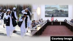 阿富汗總統加尼會見政府和平談判代表,左為政府釋放的塔利班成員。