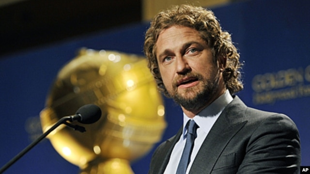 Presenter Gerard Butler announces nominations for the 69th Annual Golden Globe Awards in Beverly Hills, California, December 14, 2011.