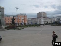 雅库茨克市中心。(美国之音白桦拍摄)