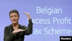 Komisaris Persaingan Uni Eropa Margrethe Vestager dalam sebuah konferensi pers di Brussels, Belgia, 11 Januari 2016, setelah Uni Eropa menuntut Belgia meminta jutaan euro pengembalian pajak dari 35 perusahaan besar.