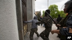 Pro-Russian Activists Storm Administration Building in Luhansk