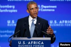 FILE - U.S. President Barack Obama addresses the U.S.-Africa Business Forum in Washington, Aug. 5, 2014.