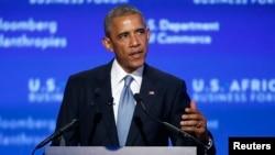 Rais wa Marekani Barack Obama akizungumzia masuala ya biashara kati ya Marekani na Afrika, Washington, August 5, 2014.