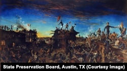 Henry A. McArdle's painting, Dawn at the Alamo, depicts the final battle at the besieged mission.