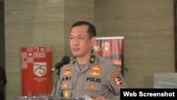 资料照片:印度尼西亚国家警察部队发言人塞蒂约诺在首都雅加达举行记者会(2020年10月26日)