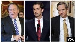 از راست: سناتور مارک کرک، سناتور تام کاتن و مایک پمپئو عضو مجلس نمایندگان