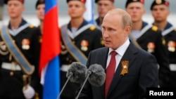 俄羅斯總統普京於勝利日在紅場閱兵後發表講話