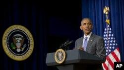 Le Président Barack Obama faisant un discours dans le Eisenhower Executive Office Building, Washington, mercredi 22 juin 2016.
