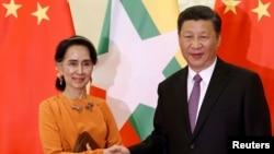 中国国家主席习近平和缅甸领导人昂山素季(2017年5月16日资料照)