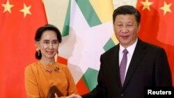 中國國家主席習近平和緬甸領導人昂山素姬。(2017年5月16日。資料圖片)
