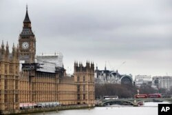 FILE - Britain's Parliament buildings in London, March 10, 2017. For the first time since World War II, lawmakers may have to move out so that repair work can be done.