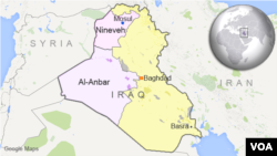Peta wilayah Irak dan letak provinsi al-Anbar dan Nineveh.