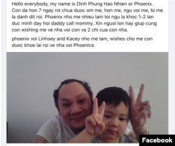 Anh Phúc và con trai kêu gọi cộng đồng cầu nguyện cho chị Lương Thị Phương Mai.