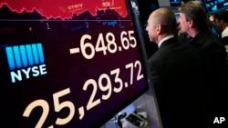 2019年5月13日美中貿易戰升級,道瓊斯工業平均指數在紐約證券交易所下跌。