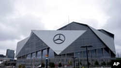 The exterior of the Mercedes-Benz Stadium in Atlanta is shown Sept. 17, 2021.