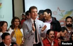 Salvador Nasralla, candidato presidencial de la Alianza de Oposición contra la Dictadura. Dic. 4 de 2017.