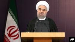 Presiden Iran Hassan Rouhani berpidato di Teheran, Iran (foto: dok).