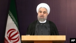 Iranian President Hassan Rouhani accuses archrival Saudi Arabia on Dec. 27, 2015, of promoting poverty and terrorism by continuing to bomb Yemeni rebels and supporting armed rebels fighting to topple Syrian President Bashar Assad in Syria.