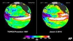 Comparación de los fenómenos de la temperatura del agua en 1997 con el actual fenómeno del El Niño.