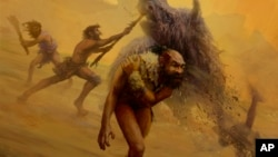 This illustration provided by Gleiver Prieto and Katerina Harvati shows a group of Neanderthals hunting with non-projectile weapons. (Gleiver Prieto/Katerina Harvati via AP)