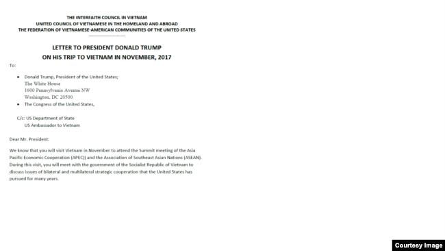 Thư của các hội đoàn gửi cho Tổng Thống Mỹ Donald Trump, ngày 17/10/2017.