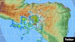 Imagen digital de la depresión tropical Selma publicado por la Comisión Permanente de Contingencias de Honduras, COPECO.