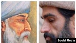 عکس از نوید نگهبان کنار تصویری از مولانا