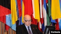 """Insulza recordó que la Carta Social sostiene que: """"la salud es una condición fundamental para la inclusión y cohesión social, el desarrollo integral, y el crecimiento económico con equidad"""". [Foto: OEA]"""