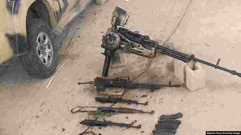 Armaments captured from Boko Haram after an attack on Dikwa, Borno State, Nigeria, February 24, 2016.