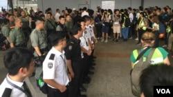 香港警方在機場部署防備示威者抗議示威 (2019年9月7日)