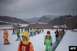 "FILE - Members of a ""ski camp"" are seen at the Masikryong Ski Resort, near North Korea's east coast port city of Wonsan, Feb. 19, 2017."