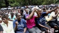 Striking civil servants attending a rally in Harare.