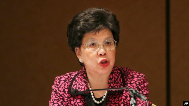 FILE - World Health Organization (WHO) Director General Margaret Chan speaks during a conference on Universal Health Coverage for inclusive and sustainable growth in Tokyo.