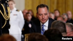 FILE - White House Chief of Staff Reince Priebus at a ceremony at the White House in Washington, July 27, 2017.