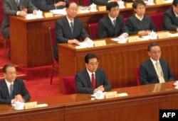 胡锦涛等国家领导人在主席台就座
