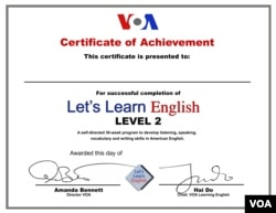 Let's Learn English Level 2 Certificate of Achievement