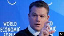 U.S. actor Matt Damon gestures as he speaks at the World Economic Forum in Davos, Switzerland, Jan. 17, 2017.