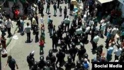 نیروهای امنیتی در بازار تهران، بازار شوش - خرداد امسال