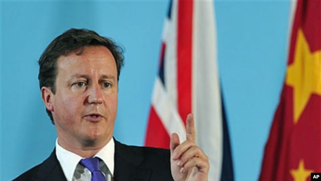 British Prime Minister David Cameron speaks during a press conference at the Foreign Office in central London, June 27, 2011 (file photo)